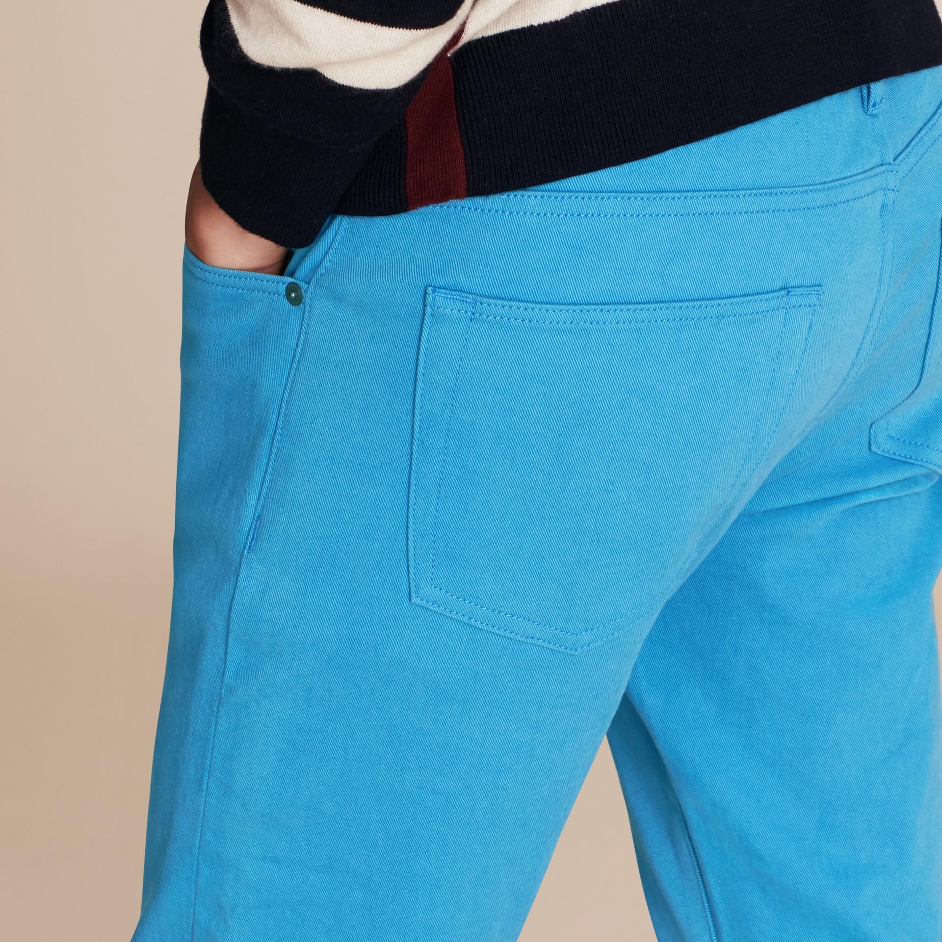 Slim Fit Japanese Stretch Denim Jeans Cerulean Blue - gallery image 6