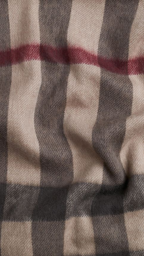 Smoked trench check Check Wool Cashmere Stole - Image 4