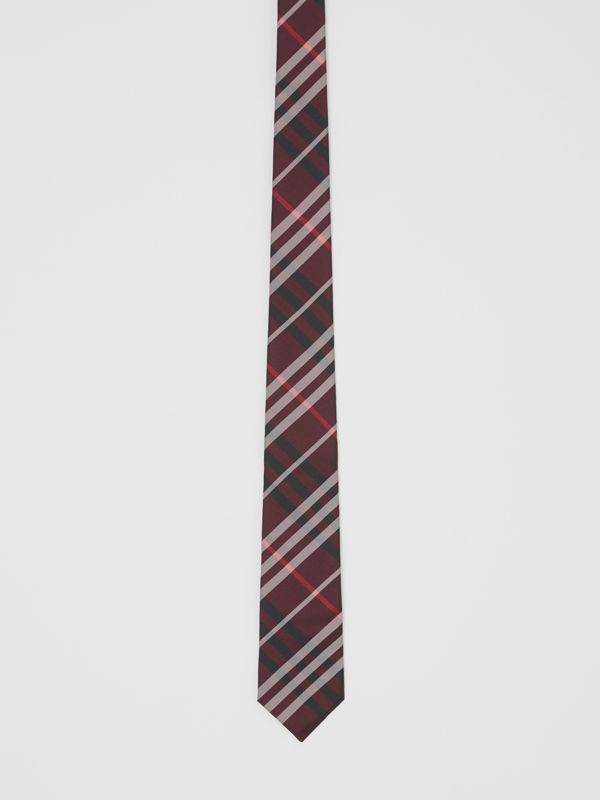 Classic Cut Vintage Check Silk Tie in Claret - Men | Burberry Singapore - cell image 3