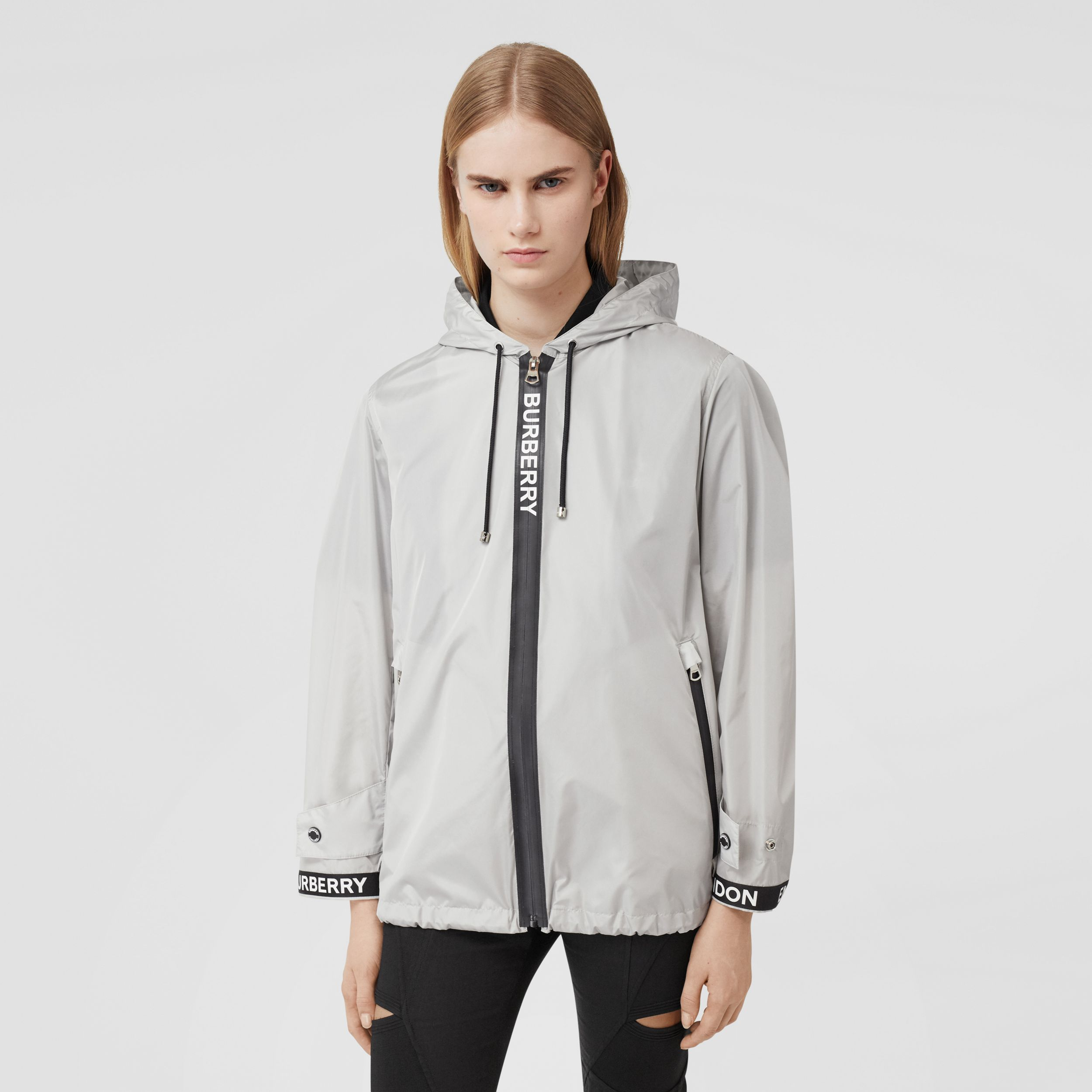 Logo Tape ECONYL® Hooded Jacket in Pale Grey - Women | Burberry Australia - 1