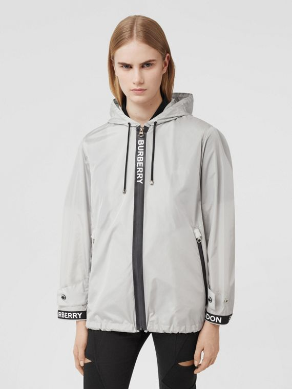 Logo Tape ECONYL® Hooded Jacket in Pale Grey
