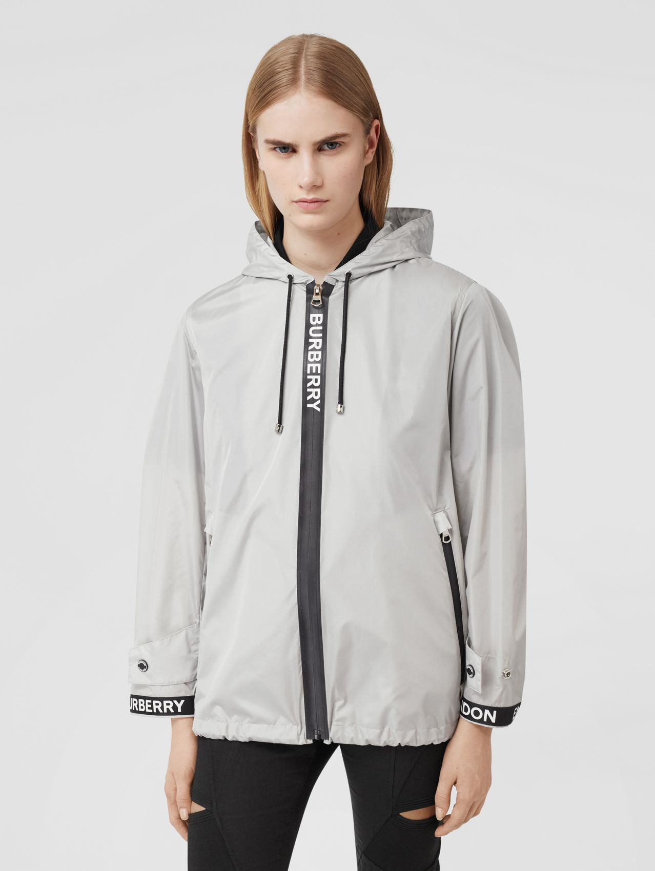 Logo Tape ECONYL® Hooded Jacket (Pale Grey)