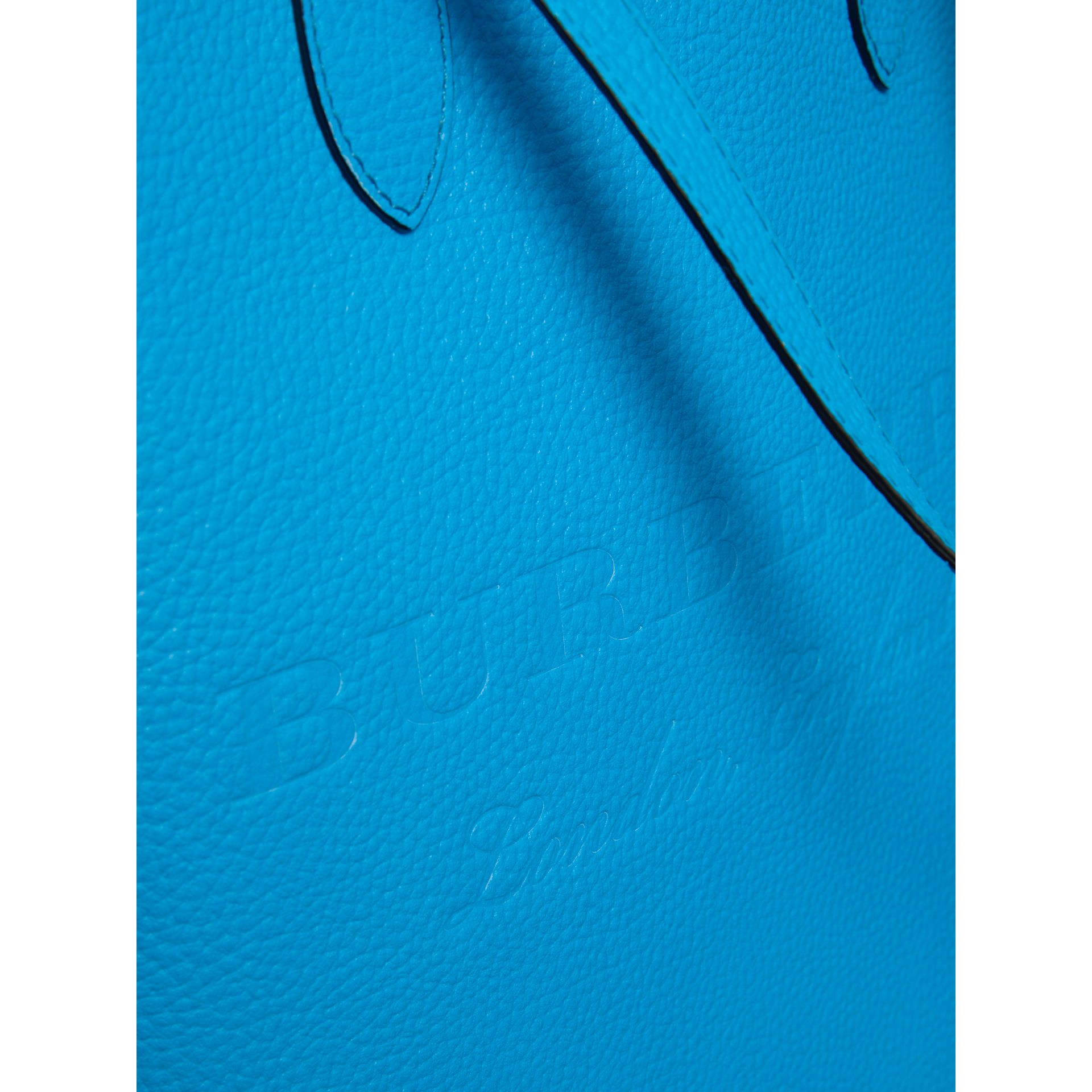 Medium Embossed Leather Tote in Neon Blue | Burberry Singapore - gallery image 1