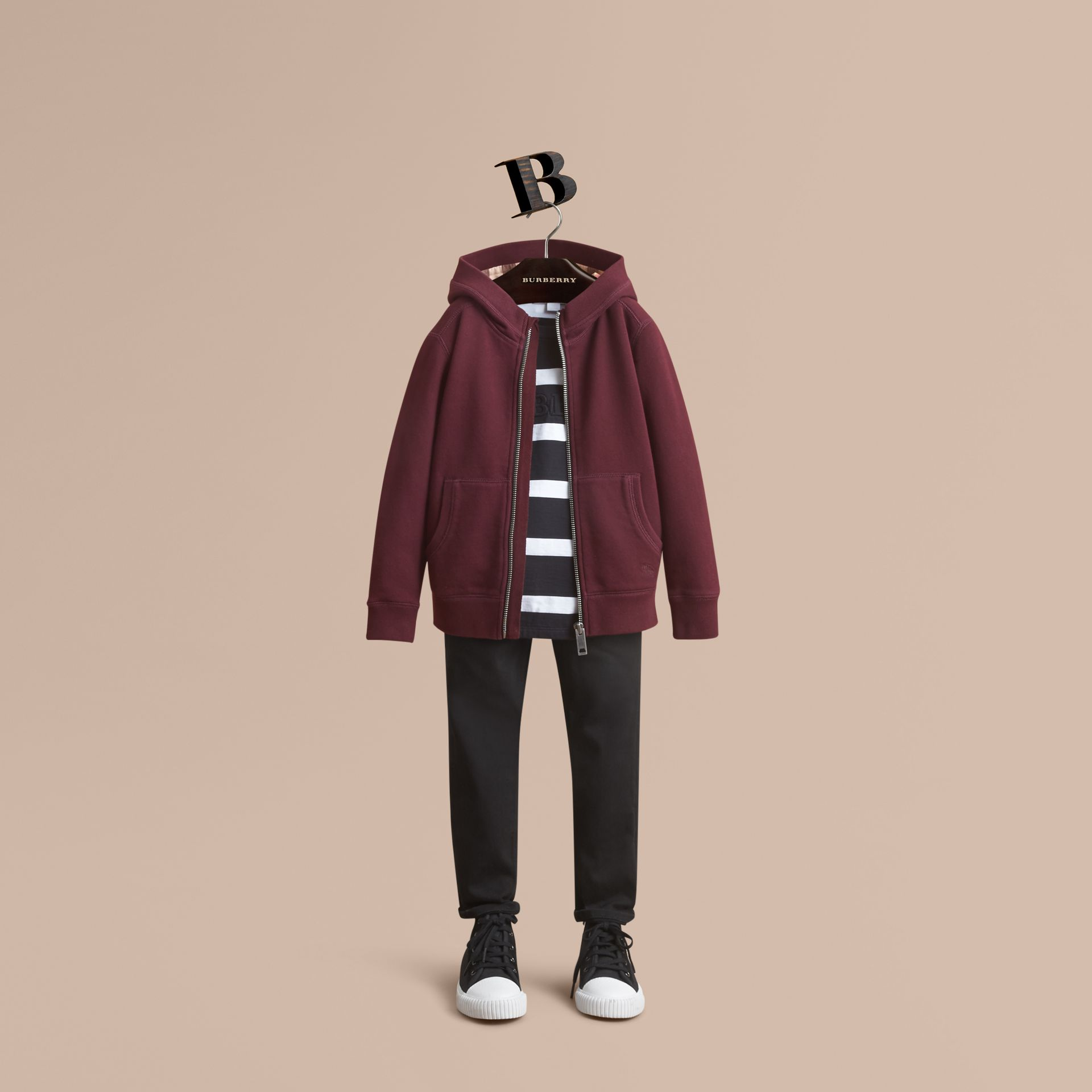 Hooded Cotton Top in Burgundy - Boy | Burberry Canada - gallery image 1