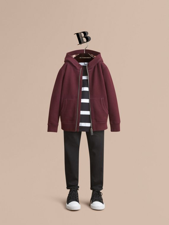 Hooded Cotton Top in Burgundy - Boy | Burberry Singapore