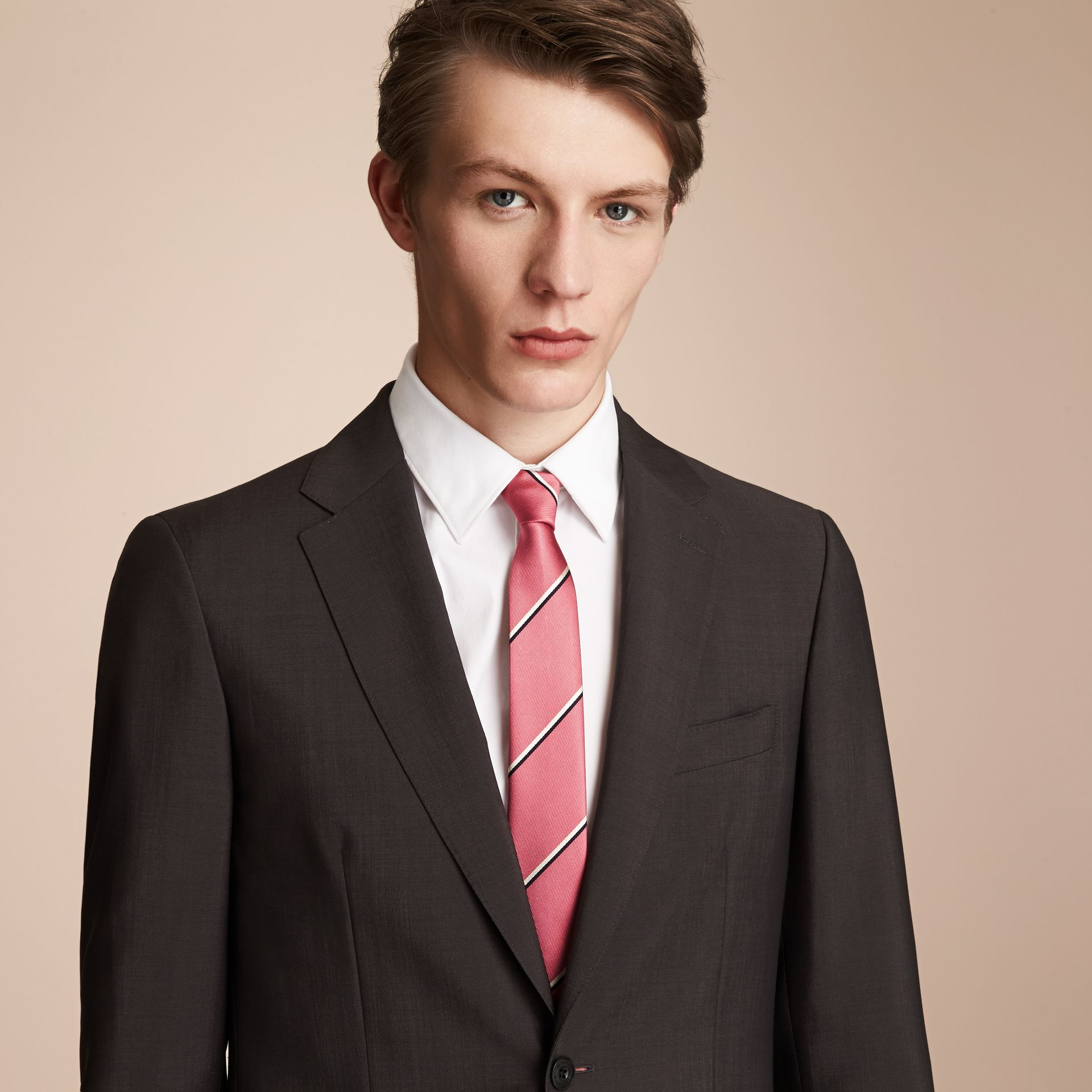 Slim Cut Striped Silk Tie in Rose Pink - Men | Burberry - gallery image 3