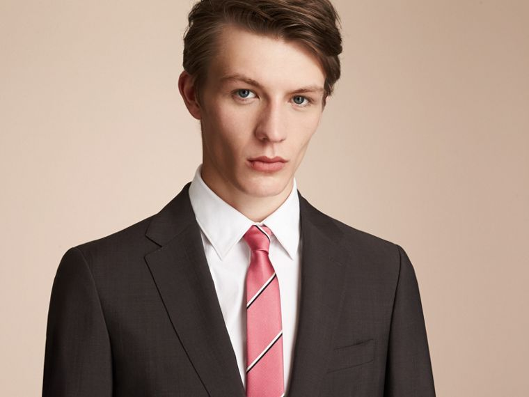 Slim Cut Striped Silk Tie in Rose Pink - Men | Burberry - cell image 2