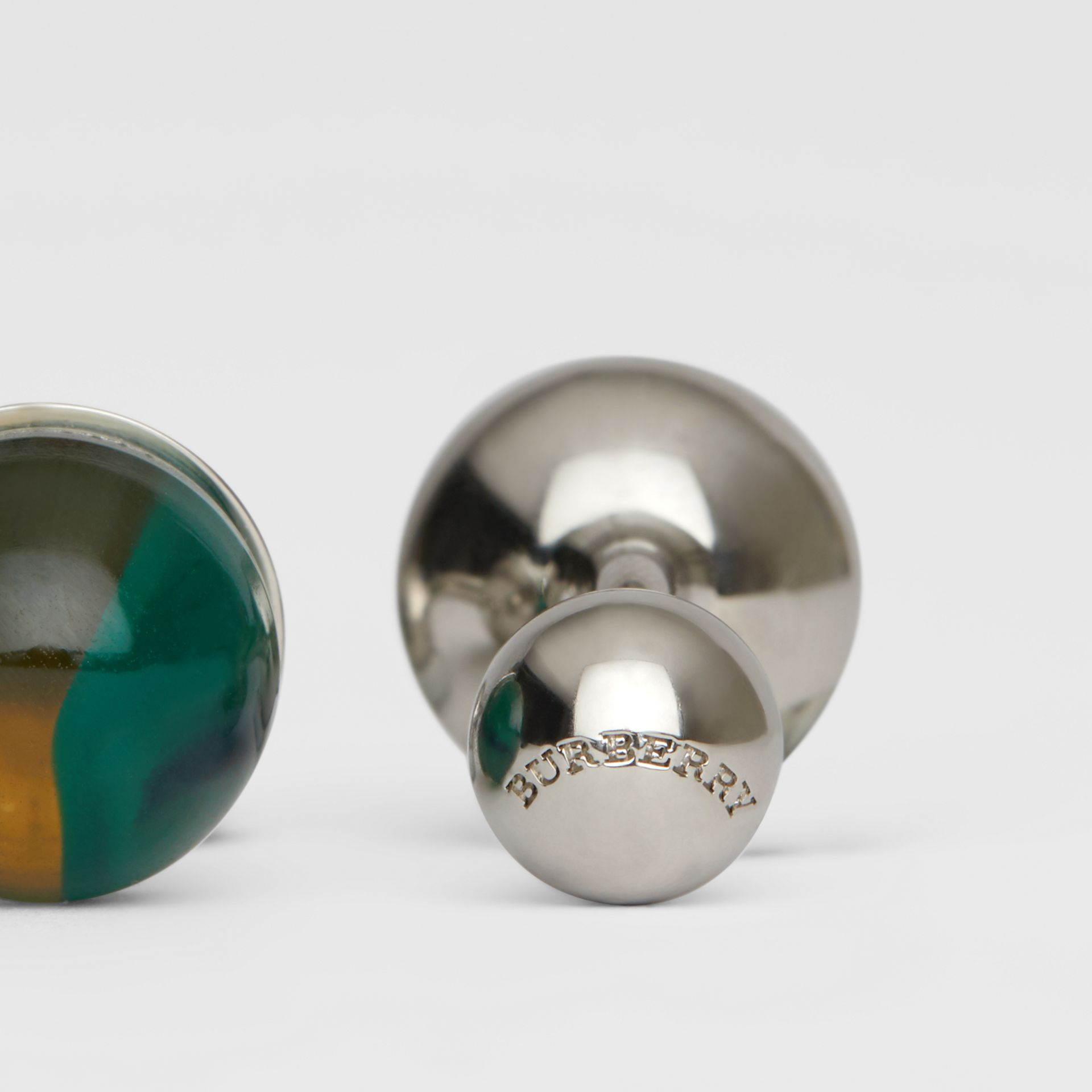 Marble and Brass Sphere Cufflinks in Silver/green - Men | Burberry Australia - gallery image 1