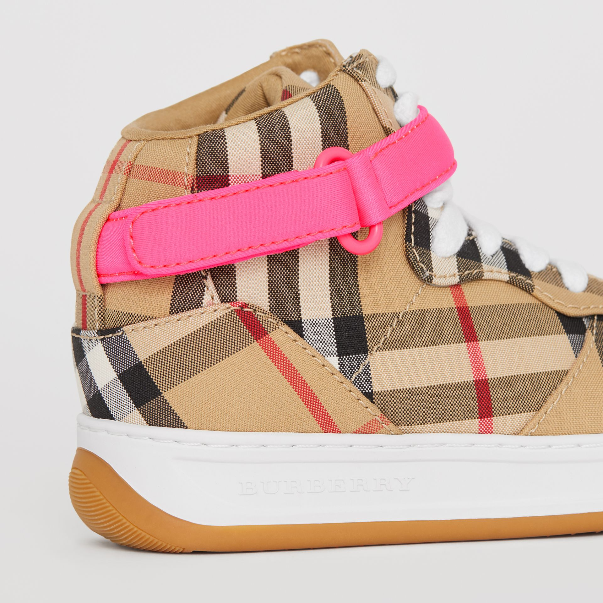 Vintage Check High-top Sneakers in Antique Yellow/neon Pink | Burberry - gallery image 1