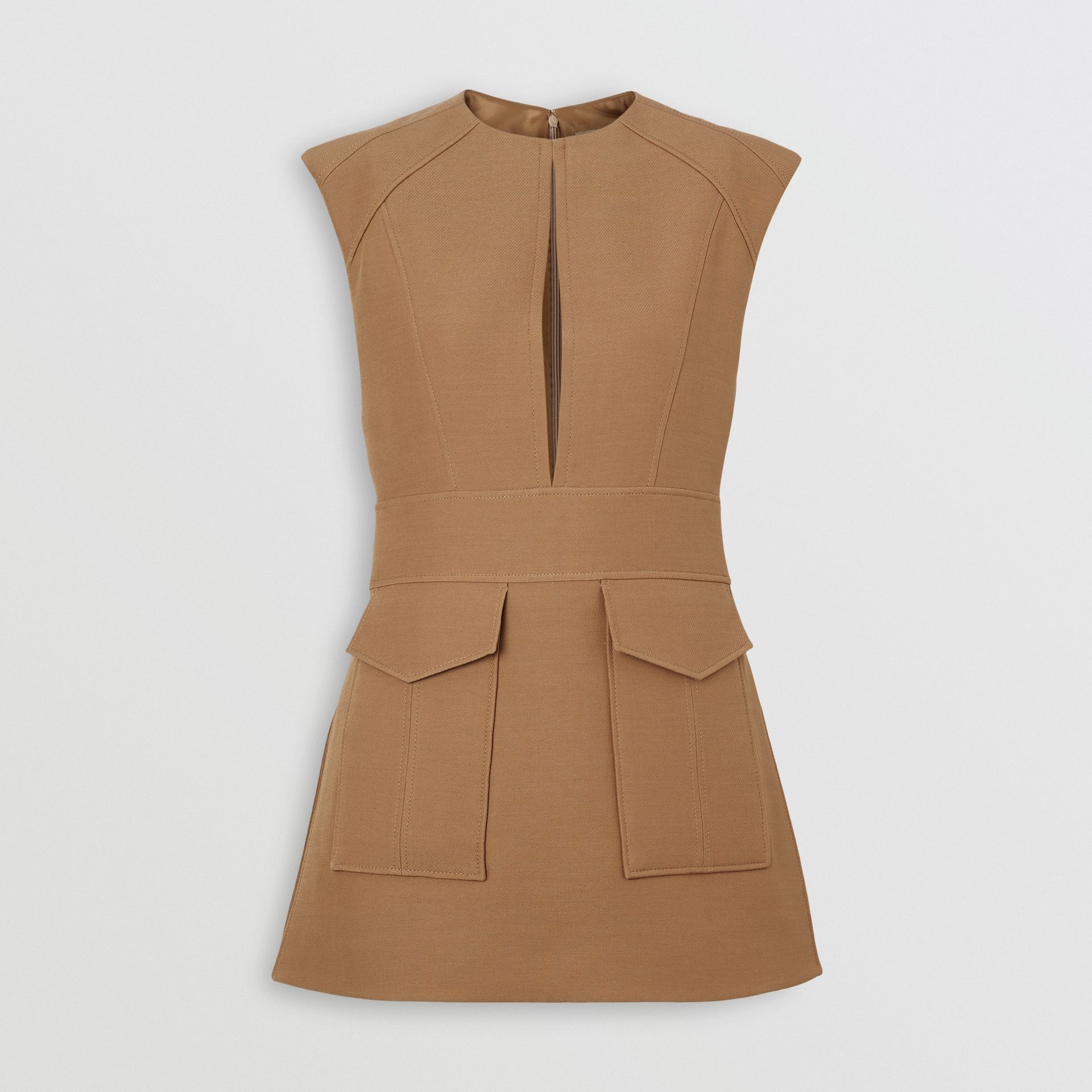 Keyhole Detail Sleeveless Wool Silk Top in Camel - Women | Burberry - gallery image 3