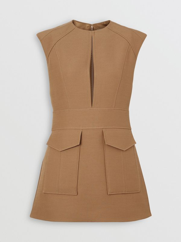 Keyhole Detail Sleeveless Wool Silk Top in Camel - Women | Burberry - cell image 3