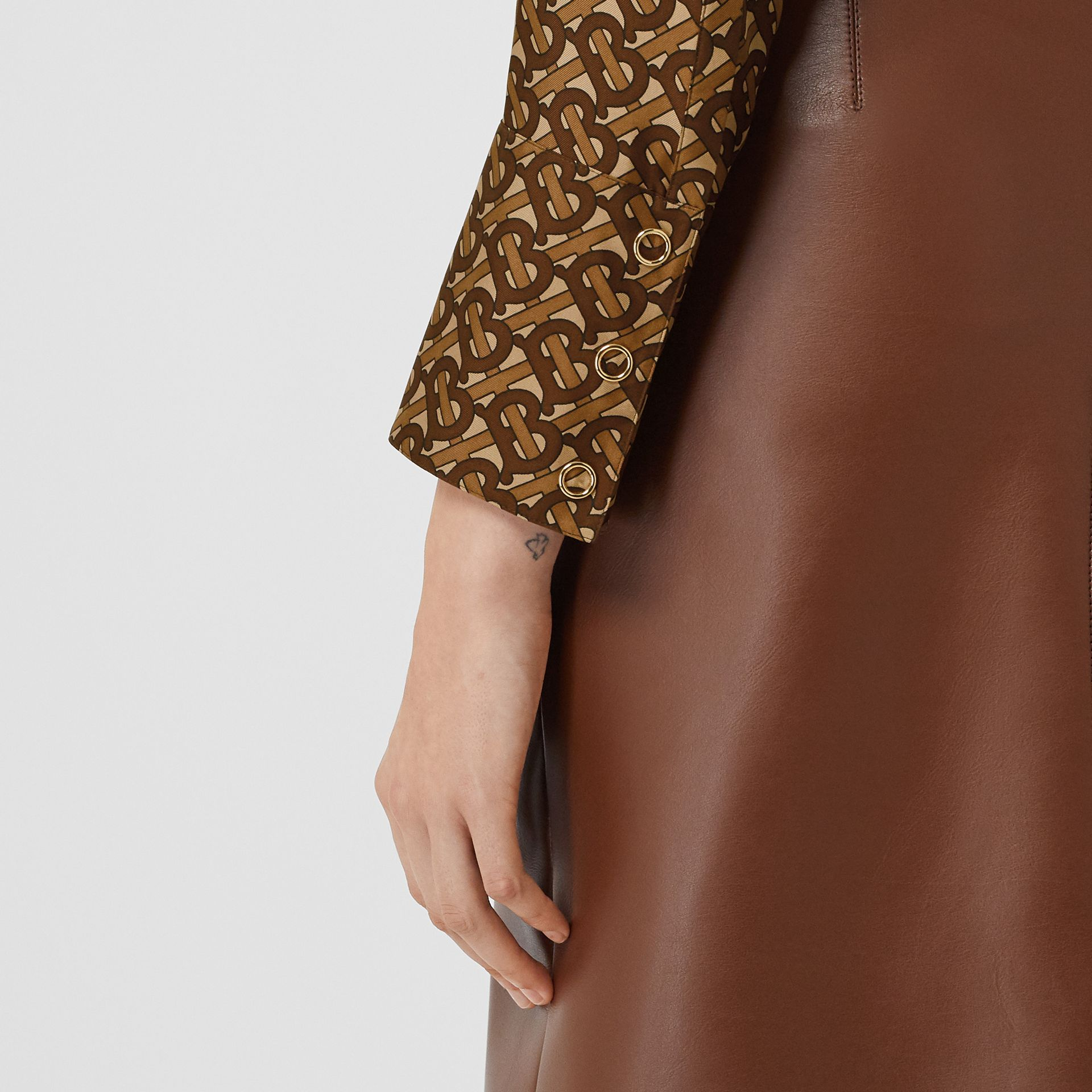 Monogram Print Silk Tie-neck Shirt in Bridle Brown - Women | Burberry - gallery image 4