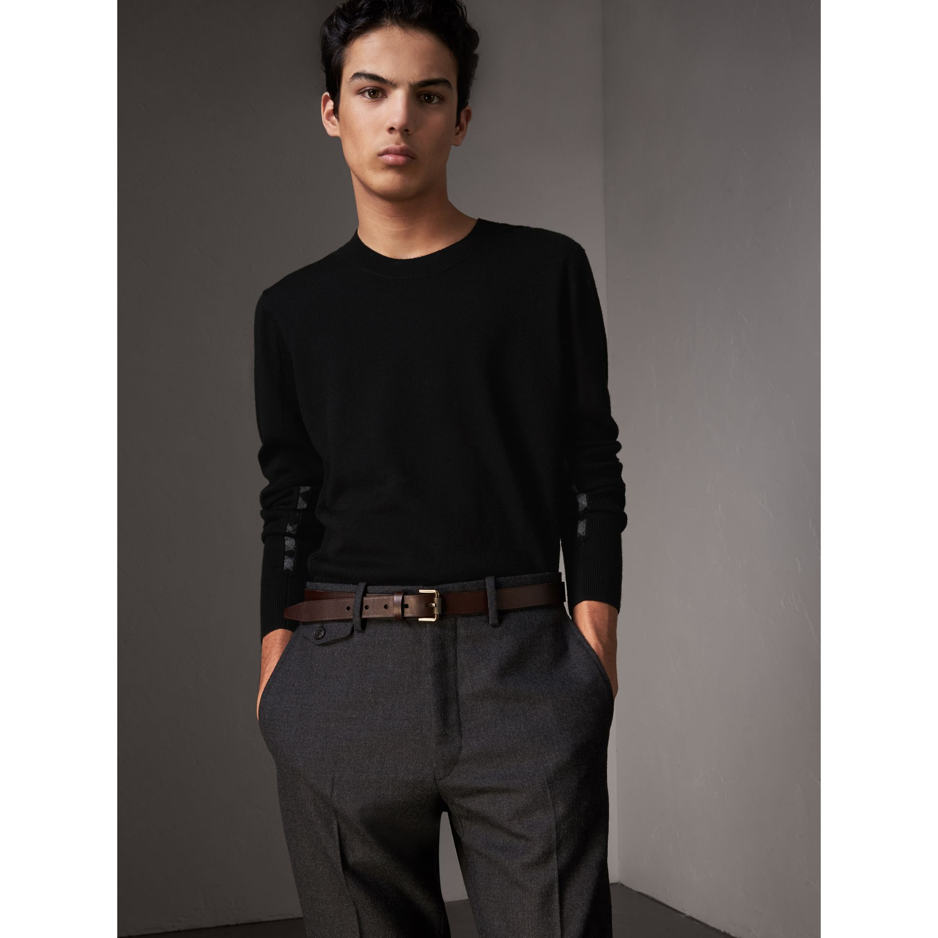 Check Detail Merino Wool Sweater in Black - Men | Burberry - gallery image 0