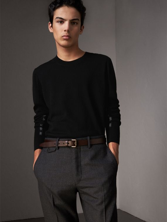 Check Detail Merino Wool Sweater in Black