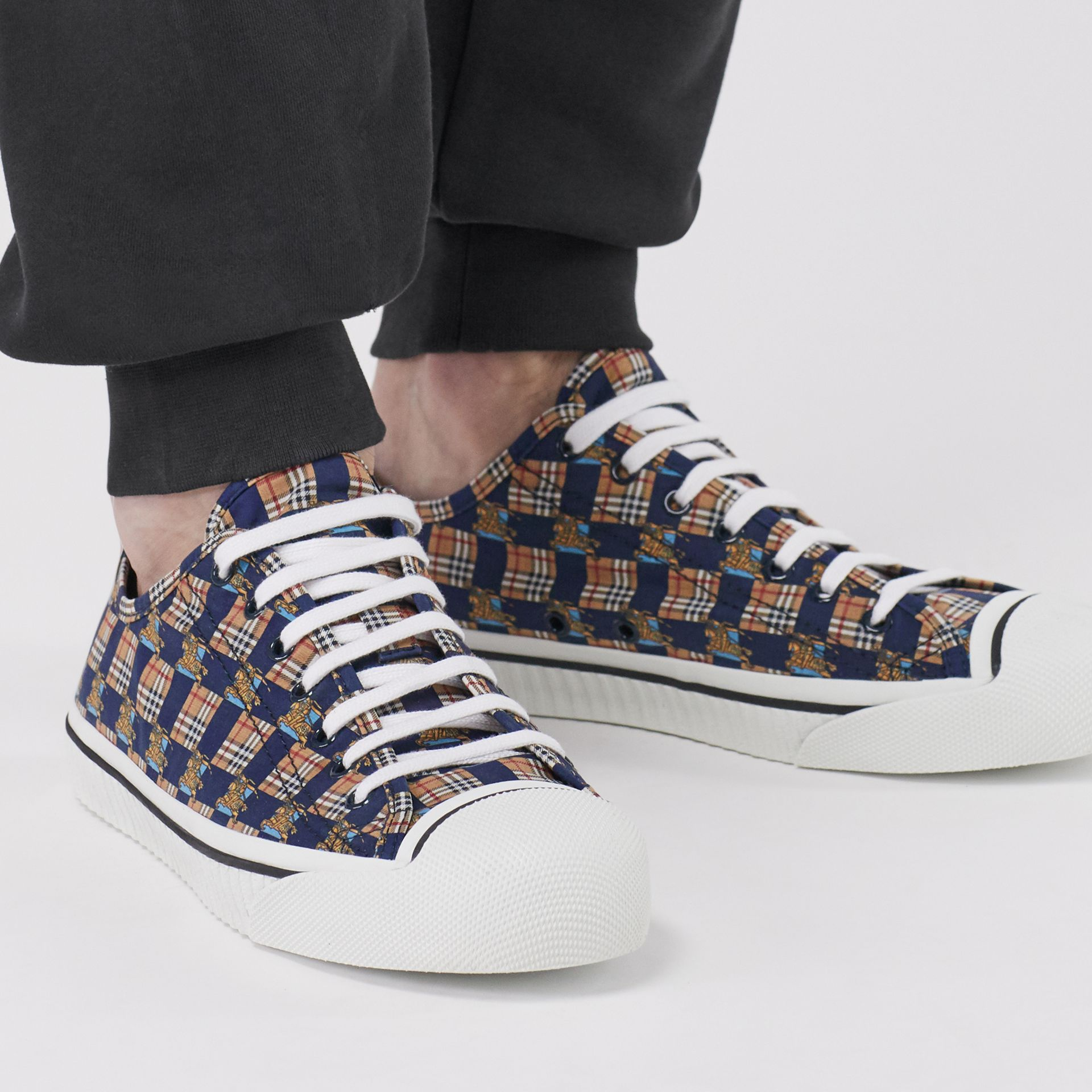 Tiled Archive Print Cotton Sneakers in Navy | Burberry - gallery image 2