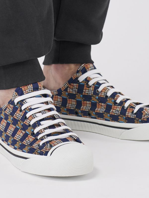 Tiled Archive Print Cotton Sneakers in Navy | Burberry - cell image 2