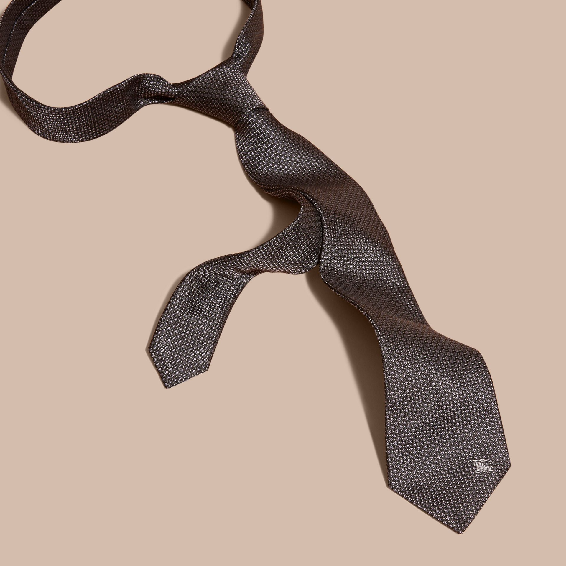 Black Modern Cut Patterned Silk Tie Black - gallery image 3