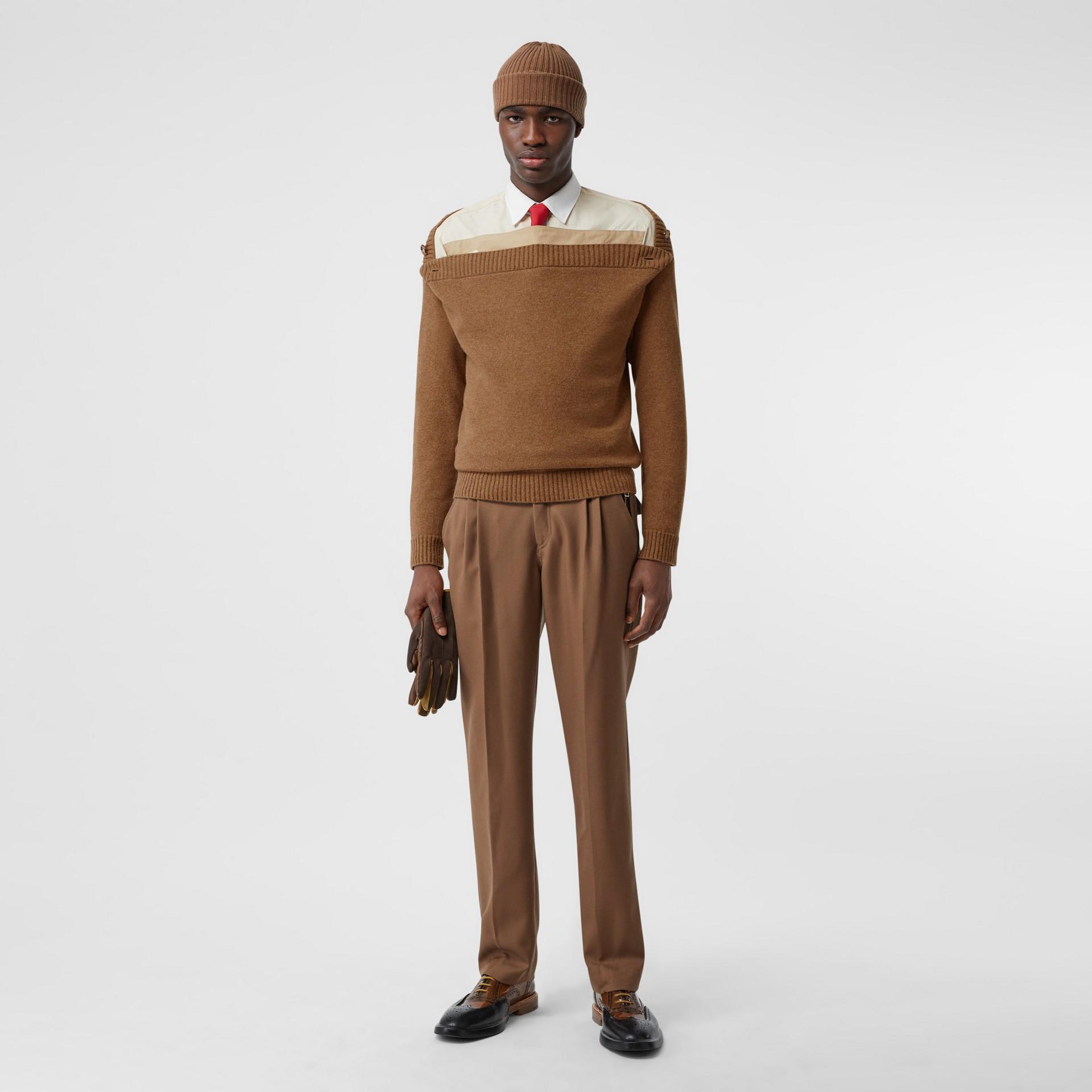 Boat Neck Wool Sweater in Dark Walnut - Men | Burberry - gallery image 4