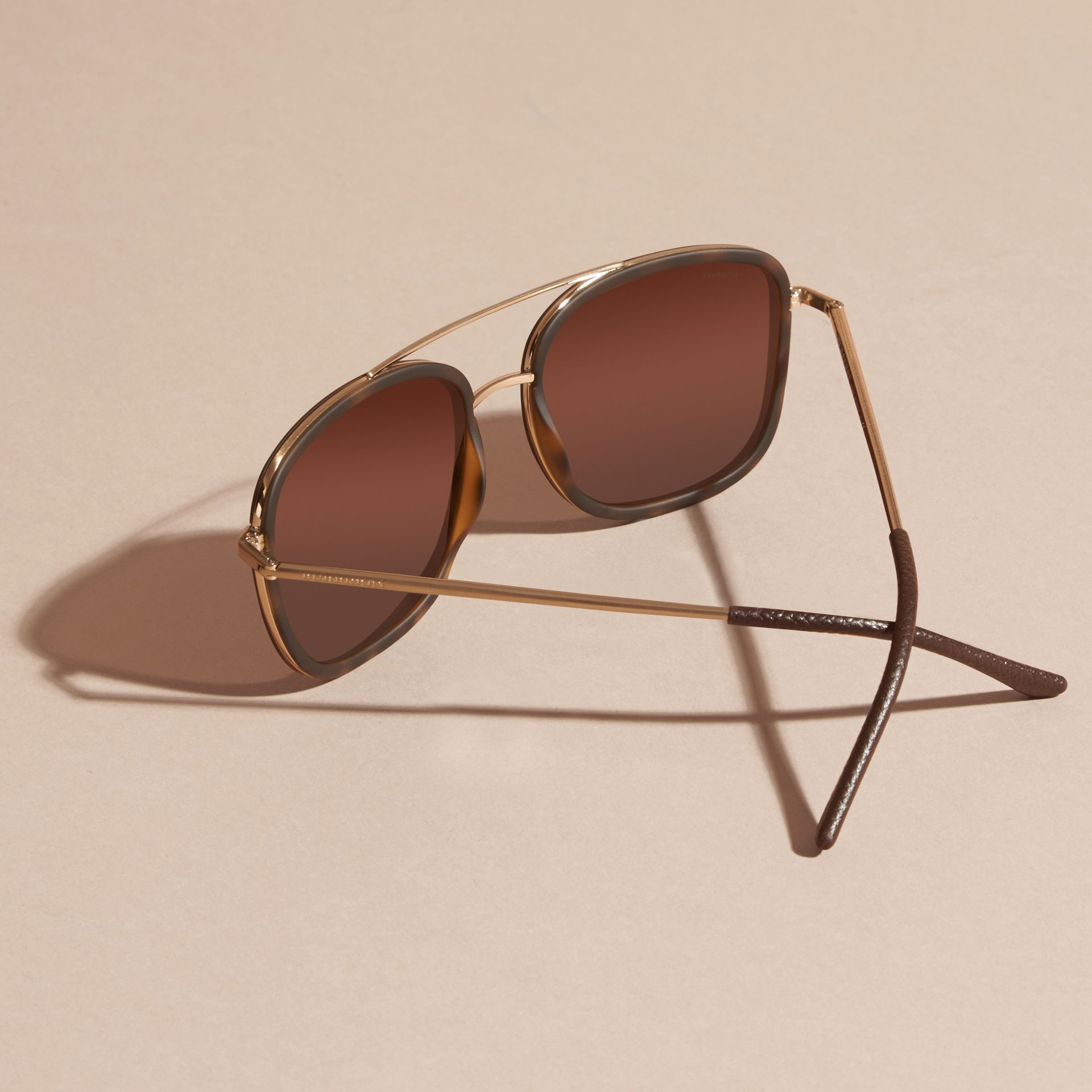 Tortoise shell Square Frame Acetate and Leather Sunglasses Tortoise Shell - gallery image 3