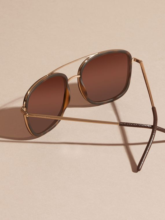 Tortoise shell Square Frame Acetate and Leather Sunglasses Tortoise Shell - cell image 2