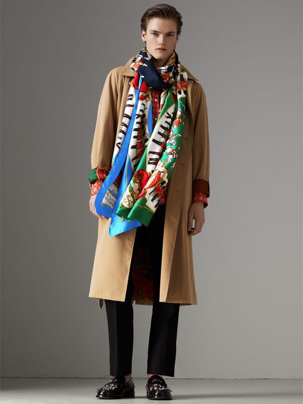Archive Scarf Print Silk Oversized Scarf in Navy - Women | Burberry - cell image 3