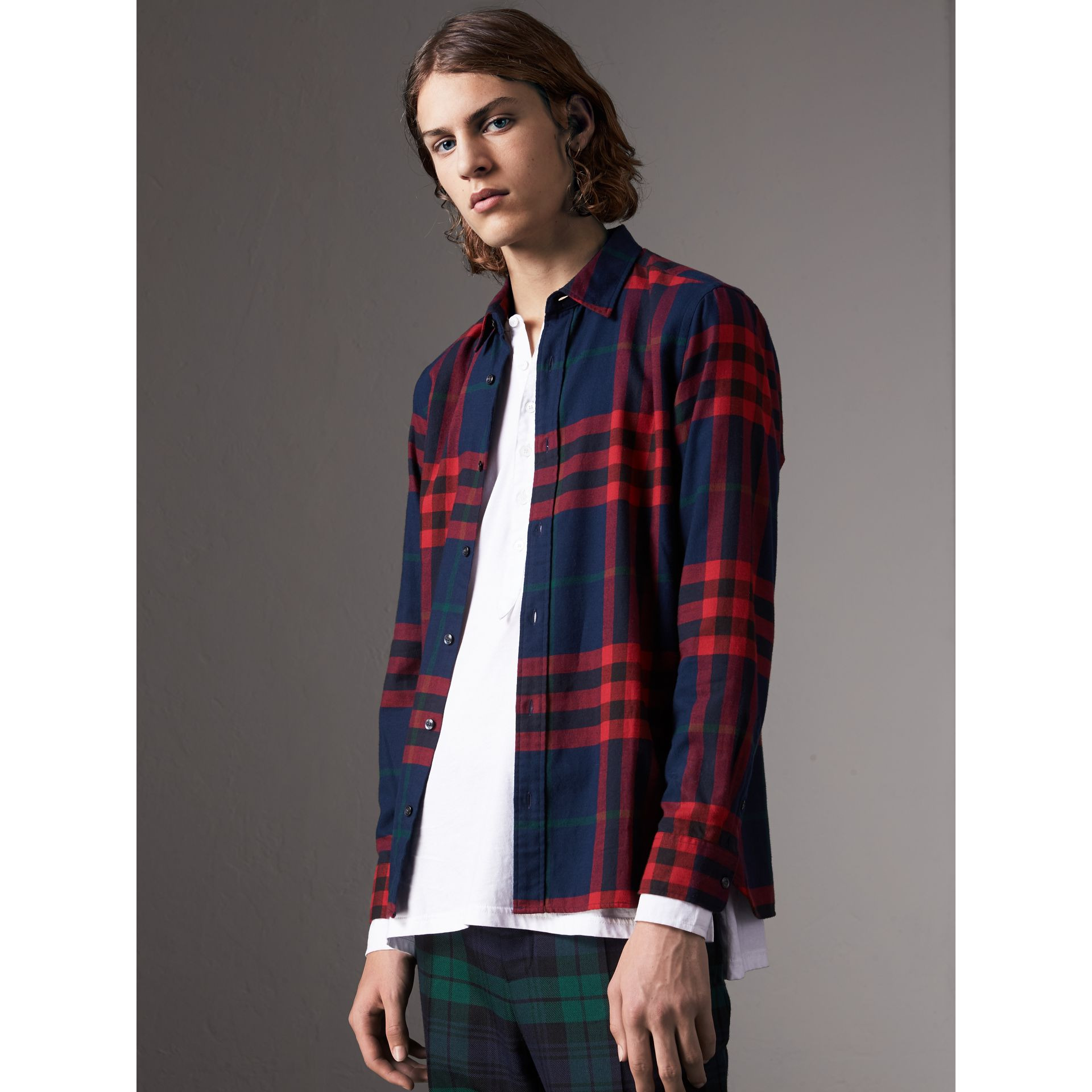 Check Cotton Flannel Shirt in Ink Blue - Men | Burberry - gallery image 0