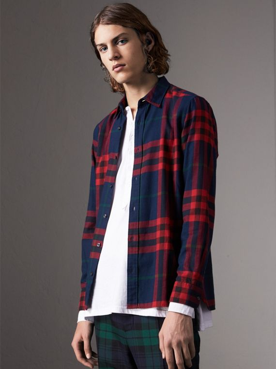 Check Cotton Flannel Shirt in Ink Blue