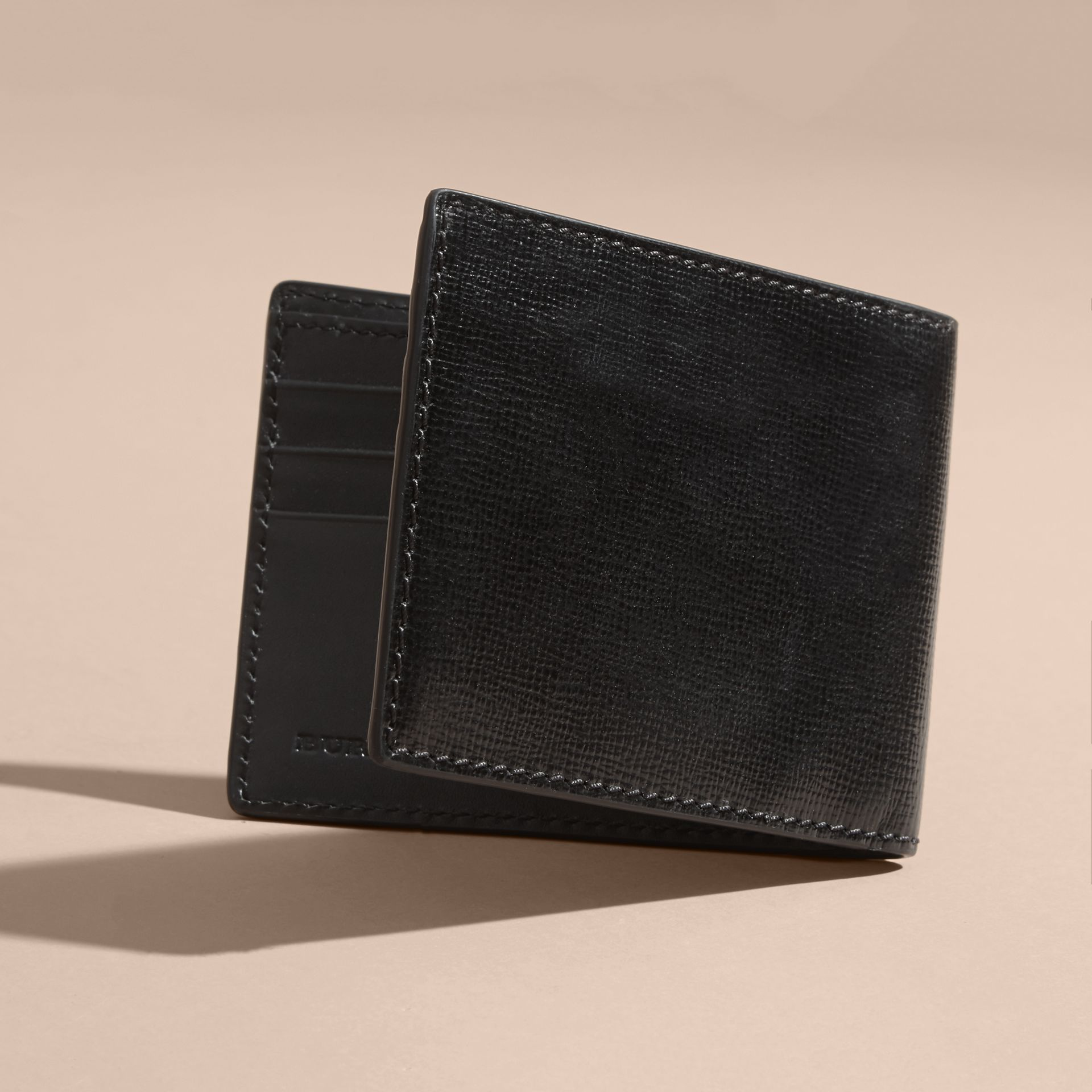 London Leather Bifold Wallet in Black | Burberry Australia - gallery image 3