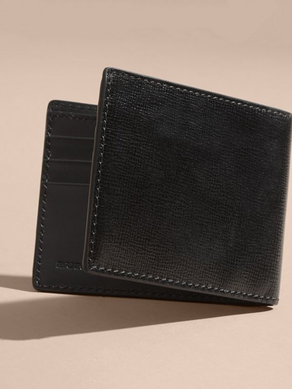 London Leather Bifold Wallet in Black | Burberry Australia - cell image 2