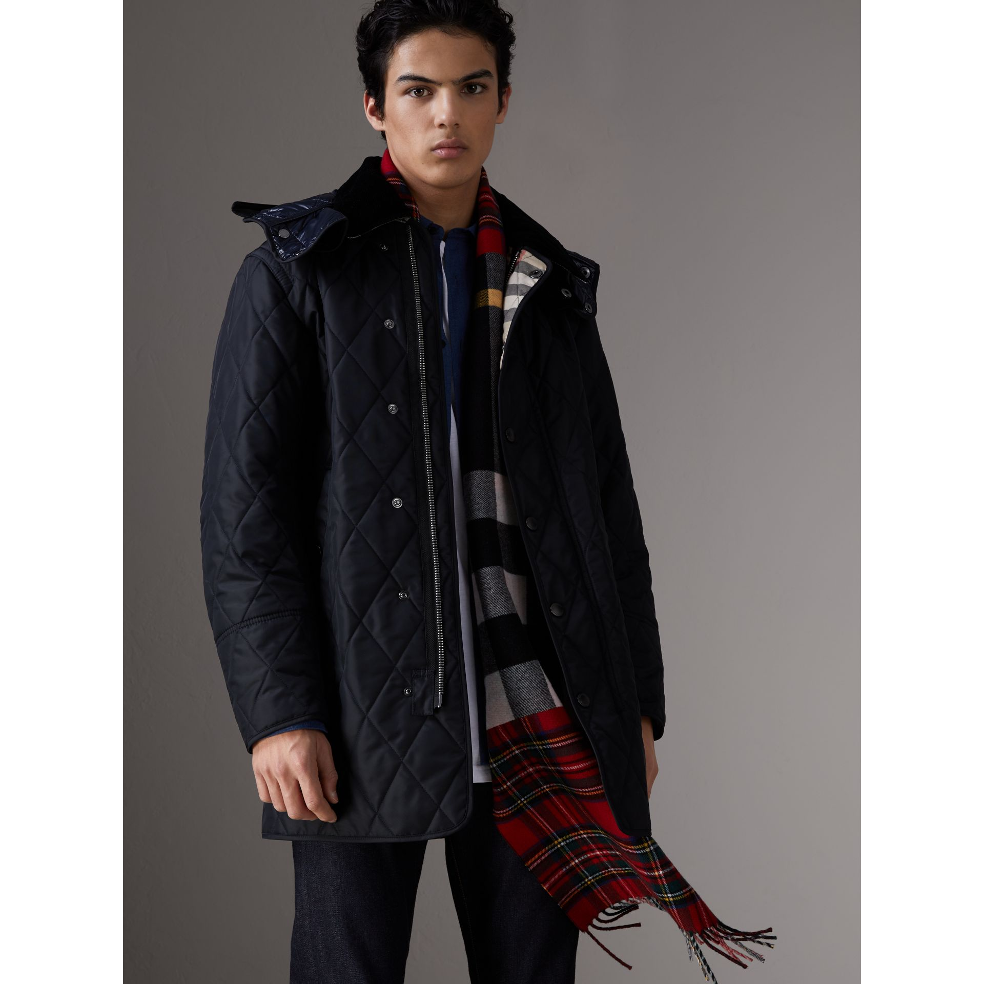 Detachable Hood Diamond Quilted Jacket in Navy - Men | Burberry - gallery image 0