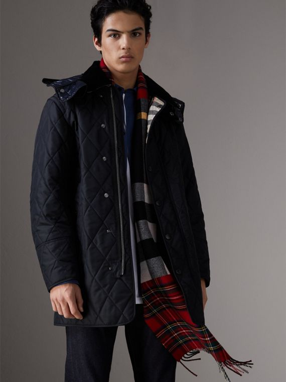 Detachable Hood Diamond Quilted Field Jacket in Navy