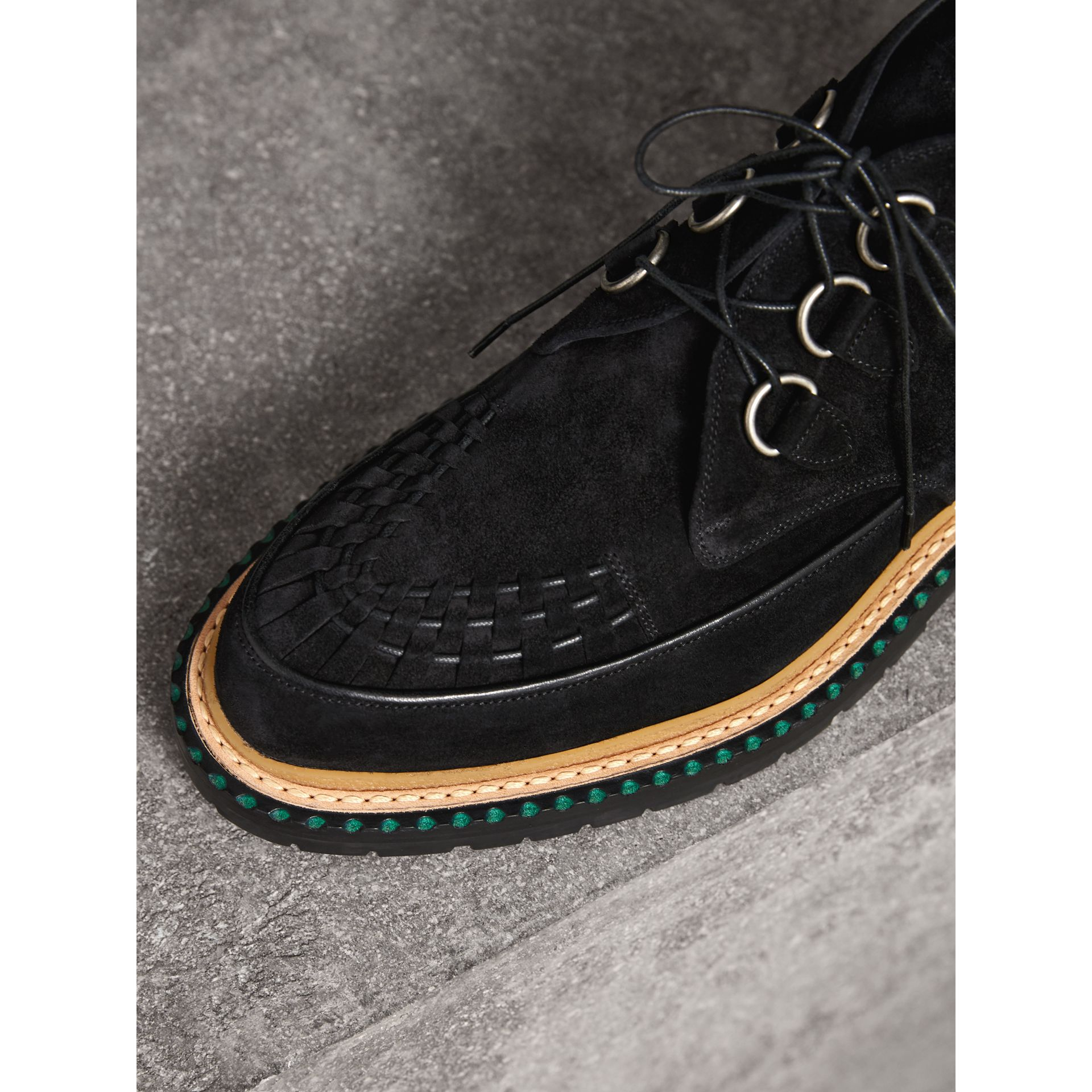 Woven-toe Suede Ankle Boots in Black - Men | Burberry Singapore - gallery image 1