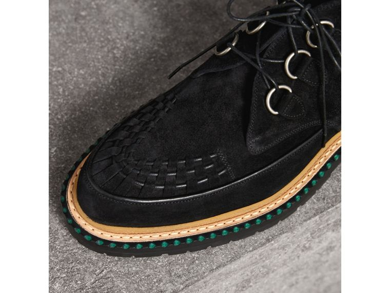 Woven-toe Suede Ankle Boots in Black - Men | Burberry Singapore - cell image 1