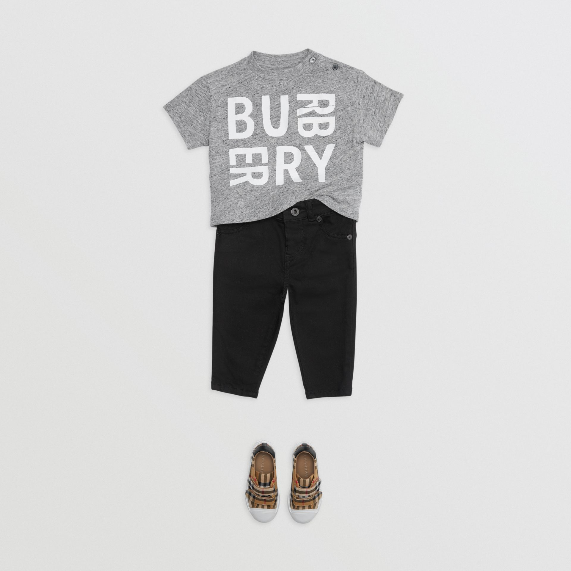Logo Print Cotton Blend Jersey T-shirt in Grey Melange - Children | Burberry - gallery image 2