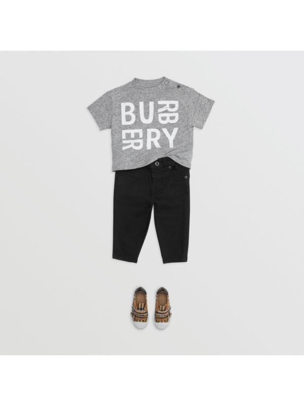 Logo Print Cotton Blend Jersey T-shirt in Grey Melange - Children | Burberry - cell image 2