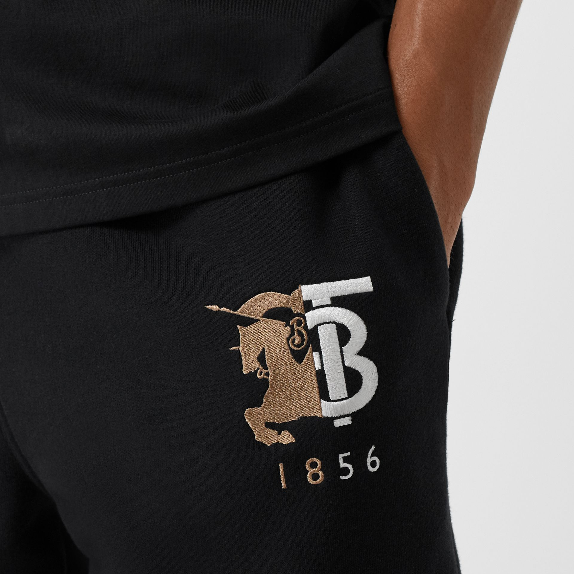 Logo Graphic Cotton Drawcord Shorts in Black - Men | Burberry United Kingdom - gallery image 1