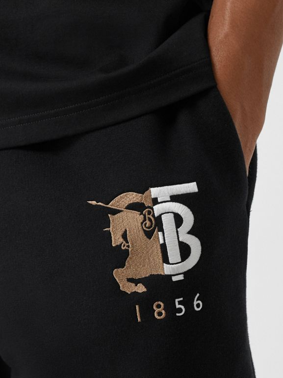 Logo Graphic Cotton Drawcord Shorts in Black - Men | Burberry United Kingdom - cell image 1