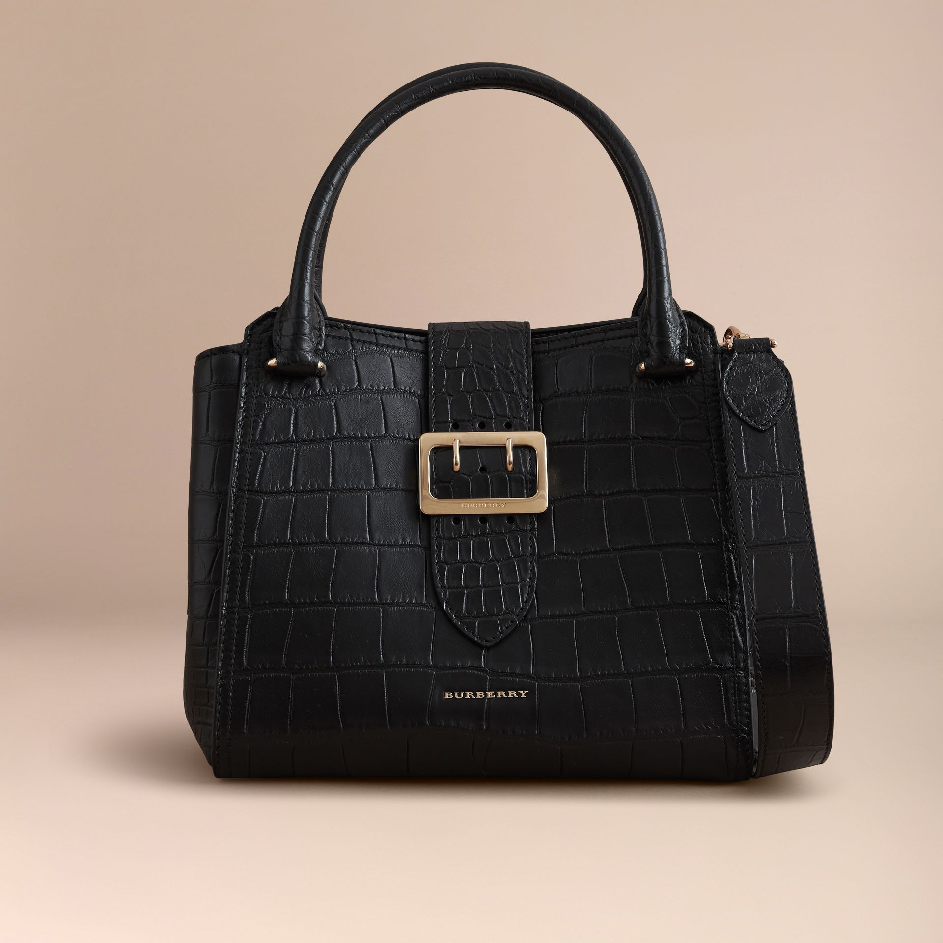 The Medium Buckle Tote in Alligator in Black - Women | Burberry - gallery image 6