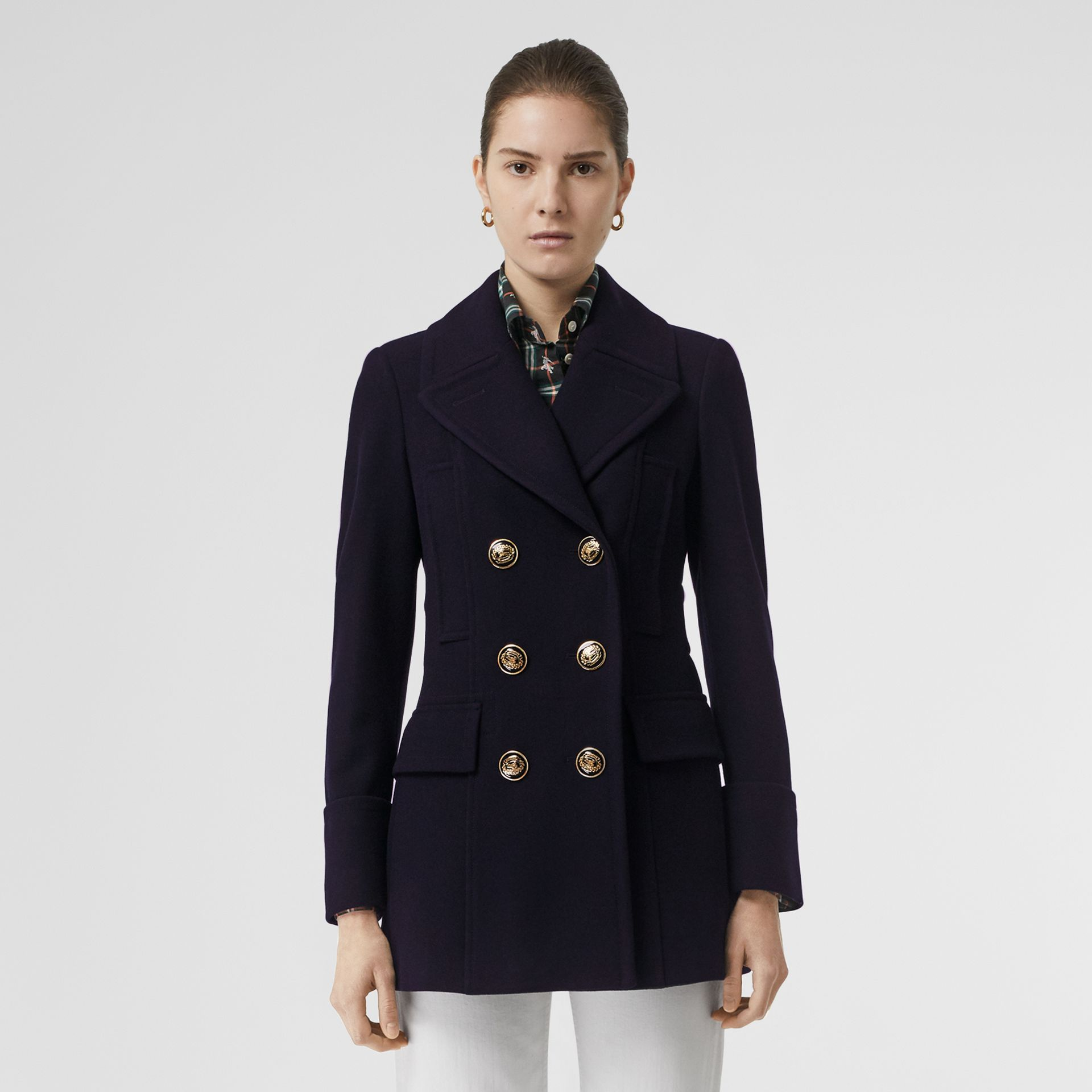 Doeskin Wool Tailored Pea Coat in Navy - Women | Burberry Singapore - gallery image 3