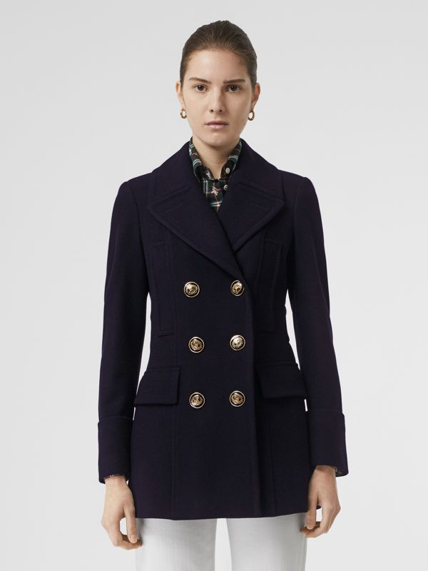 Doeskin Wool Tailored Pea Coat in Navy - Women | Burberry - cell image 3