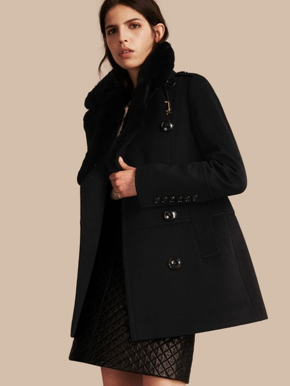 Wool Cashmere Pea Coat with Detachable Fur Collar