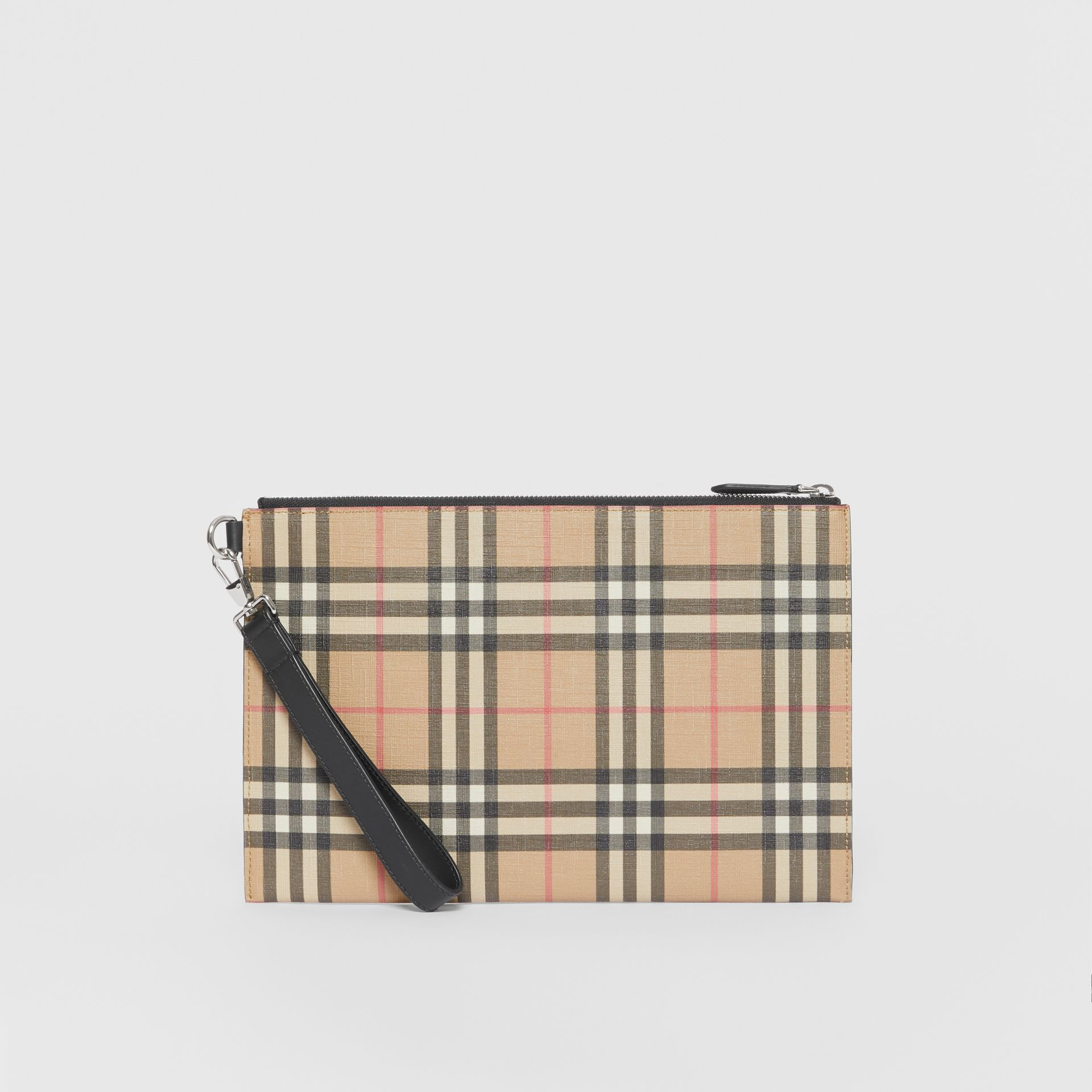 Vintage Check E-canvas and Leather Zip Pouch in Archive Beige - Men | Burberry - gallery image 6