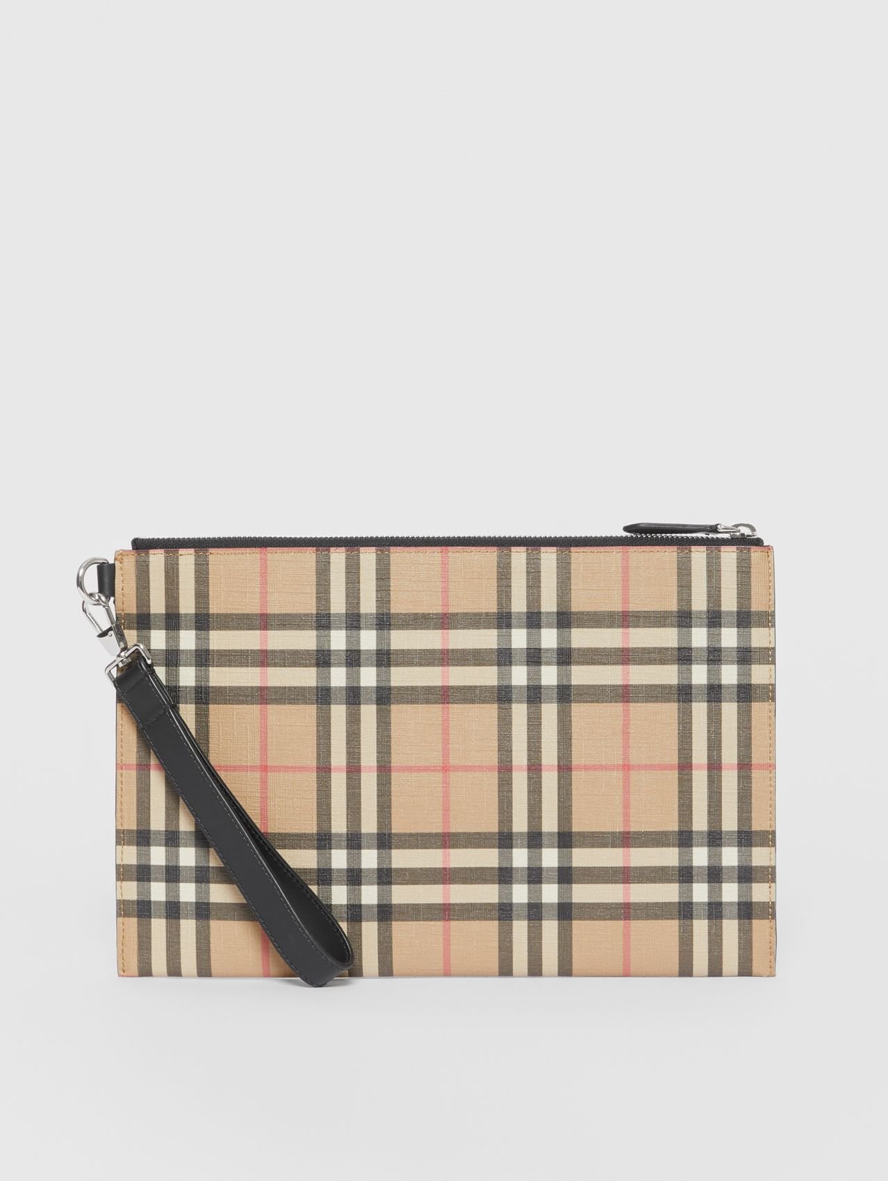 Vintage Check E-canvas and Leather Zip Pouch in Archive Beige
