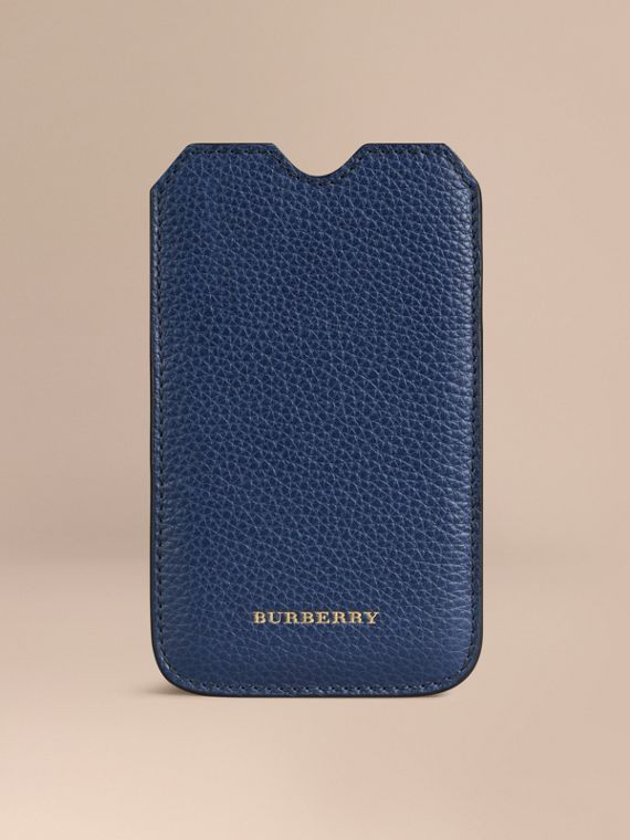 Grainy Leather iPhone 5/5S Case in Bright Navy | Burberry Canada