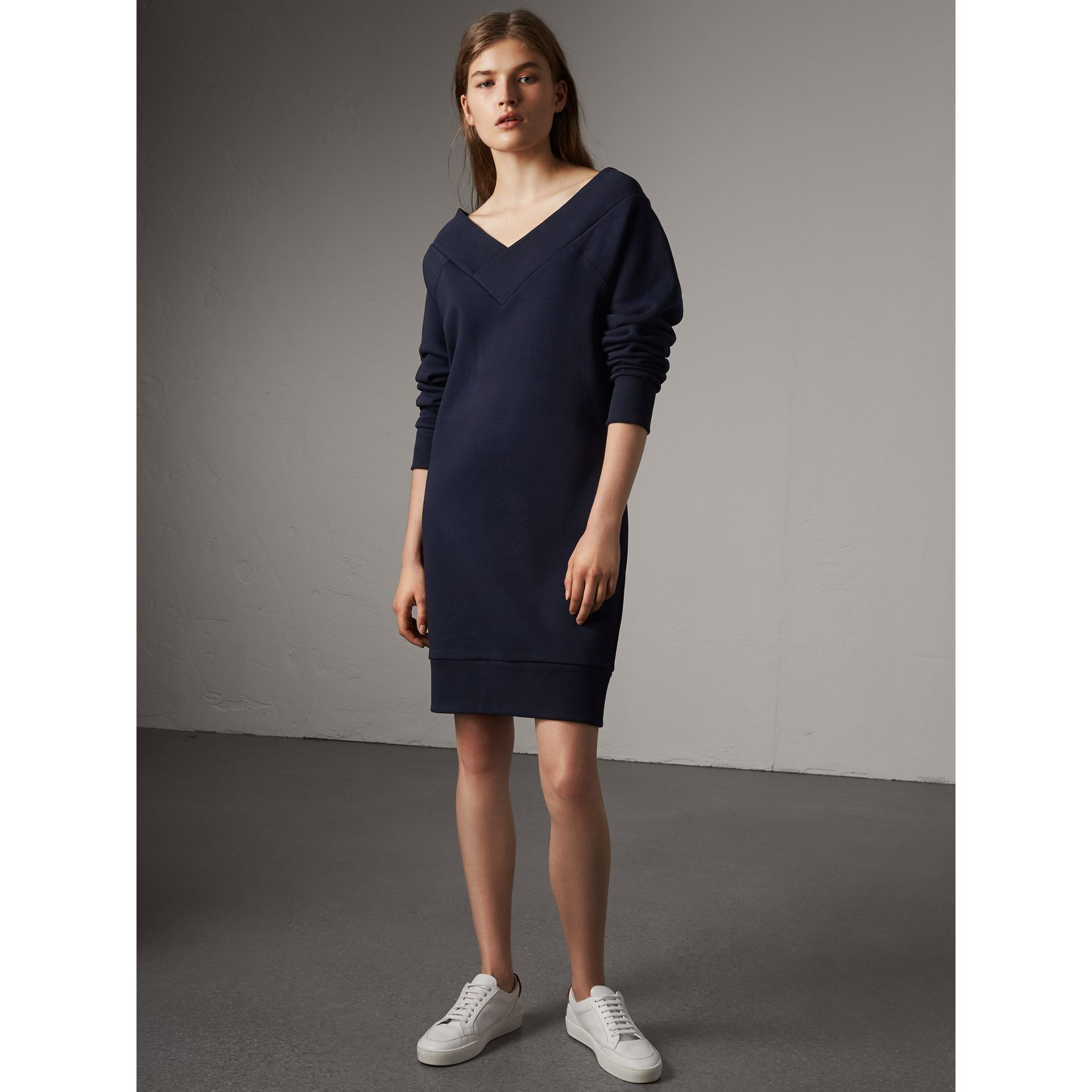 Cotton Blend V-neck Sweater Dress in Navy - Women | Burberry - gallery image 4