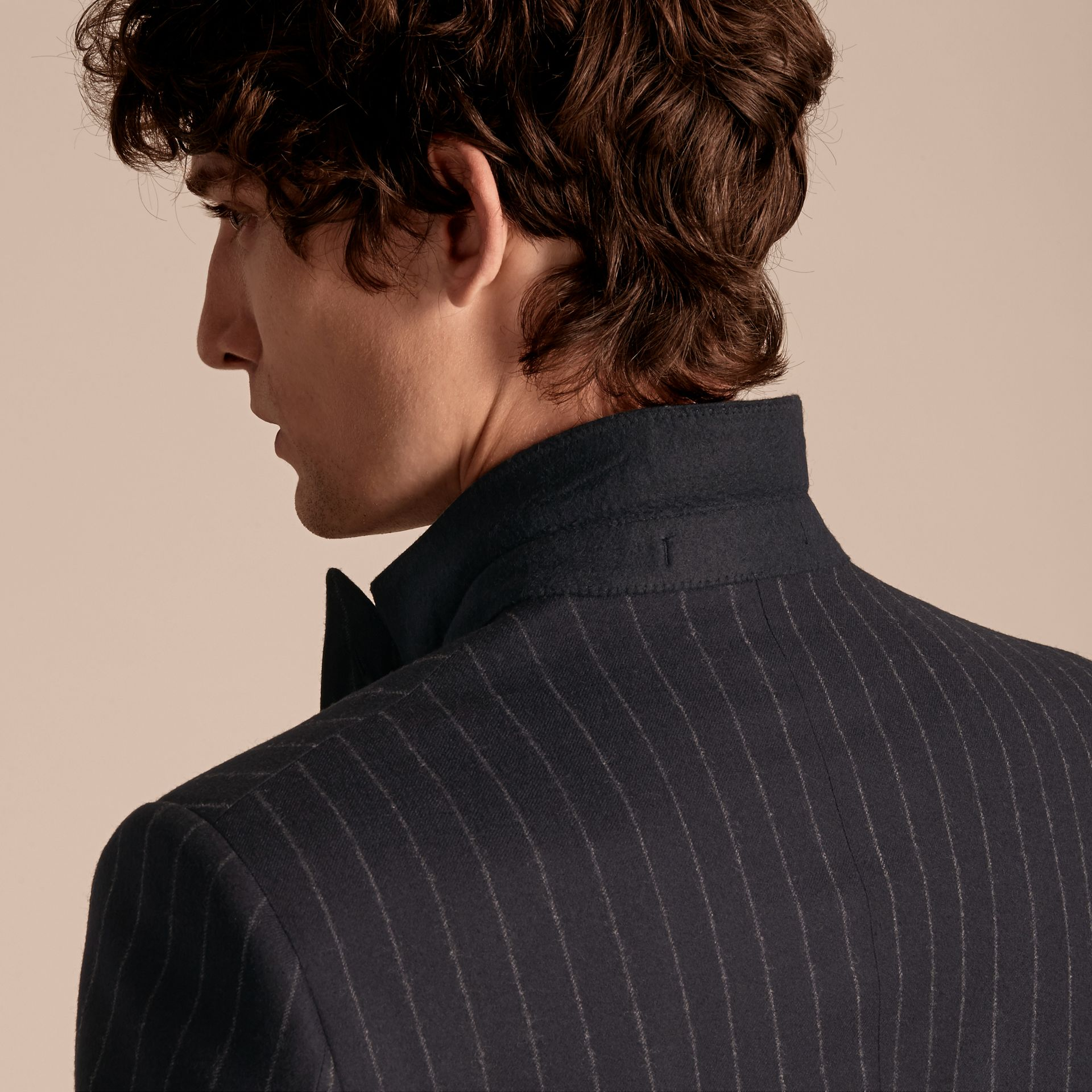 Navy Slim Fit Double-breasted Pinstripe Wool Suit - gallery image 6