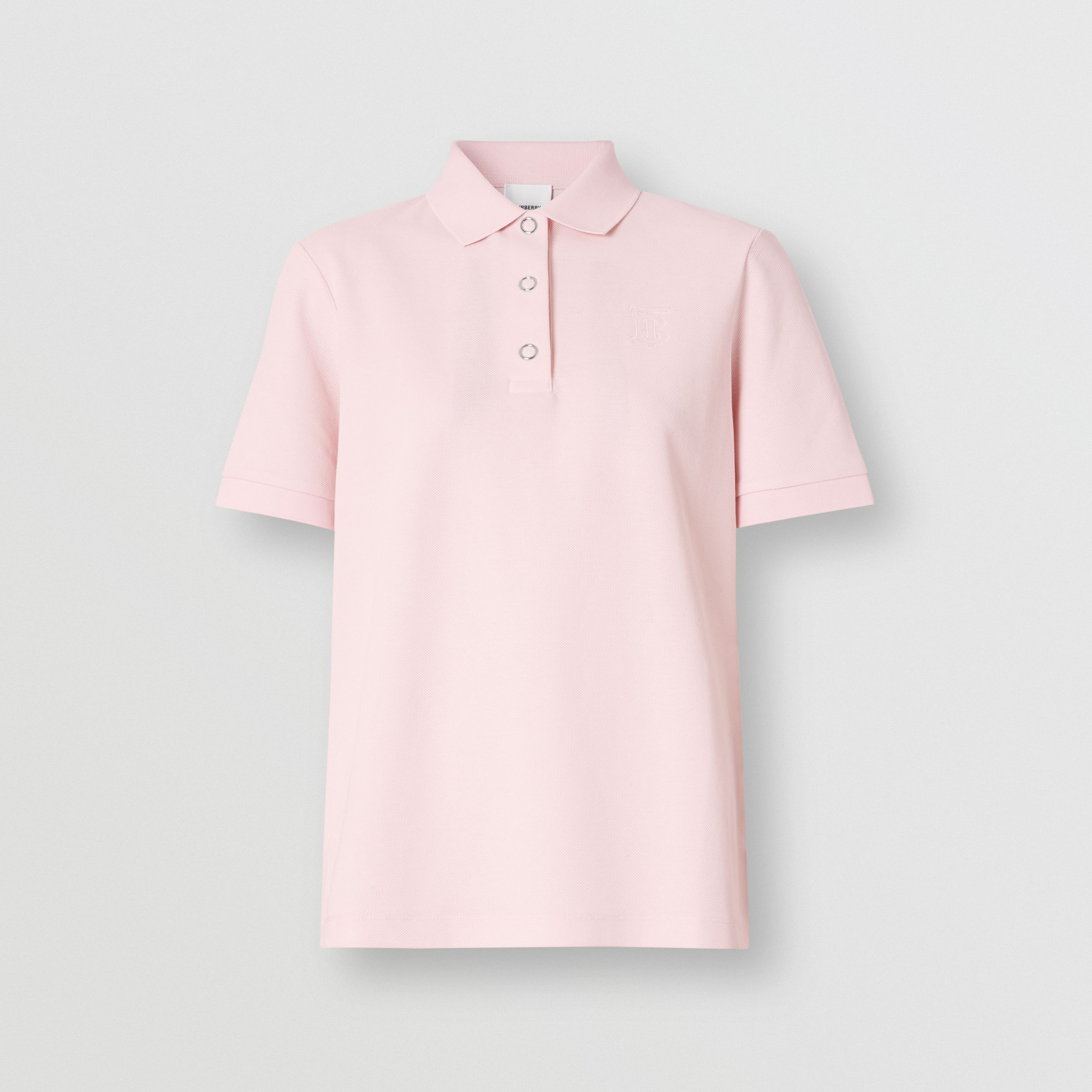 Monogram Motif Cotton Piqué Polo Shirt in Alabaster Pink - Women | Burberry - 4