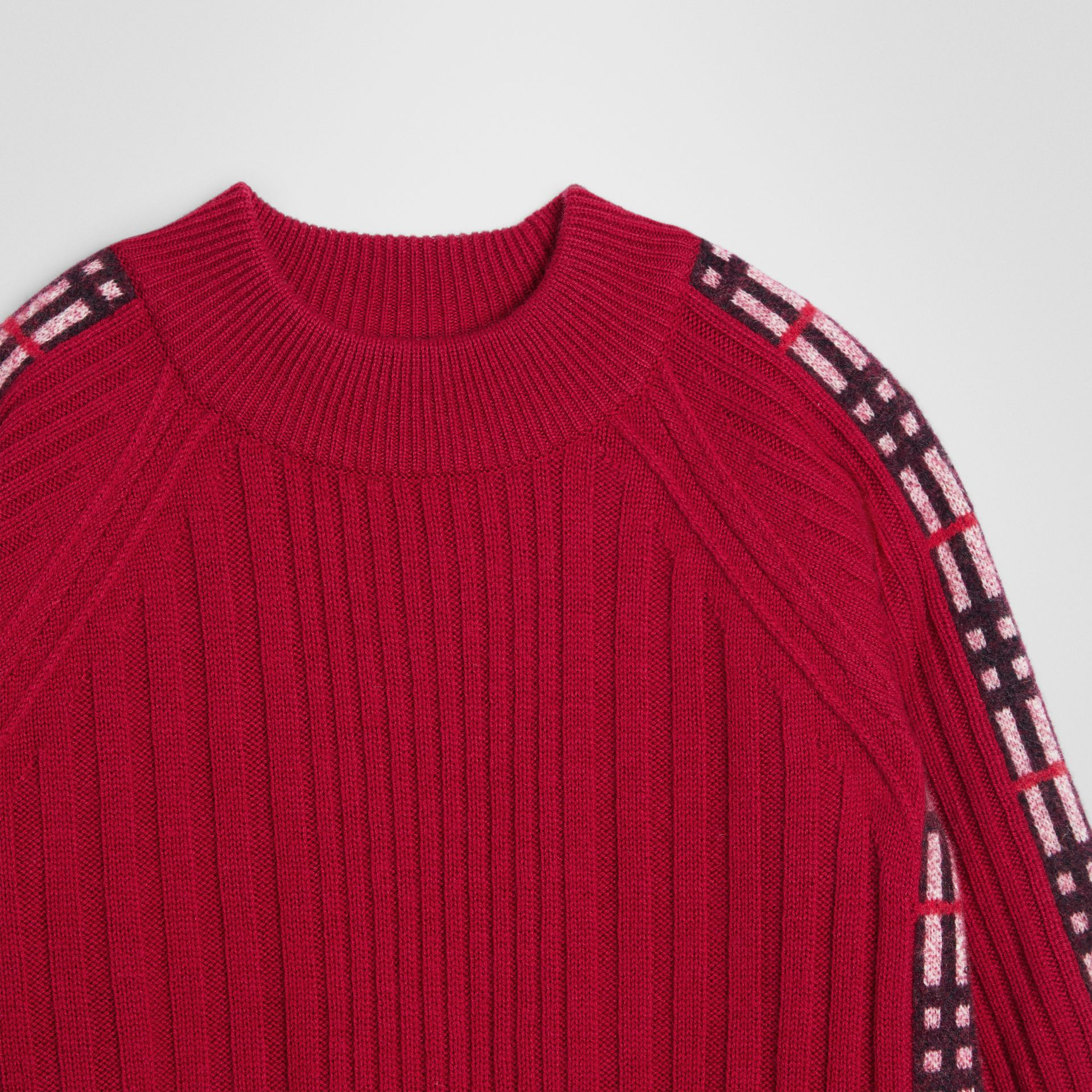Check Detail Wool Cashmere Dress in Burgundy Red | Burberry - gallery image 4