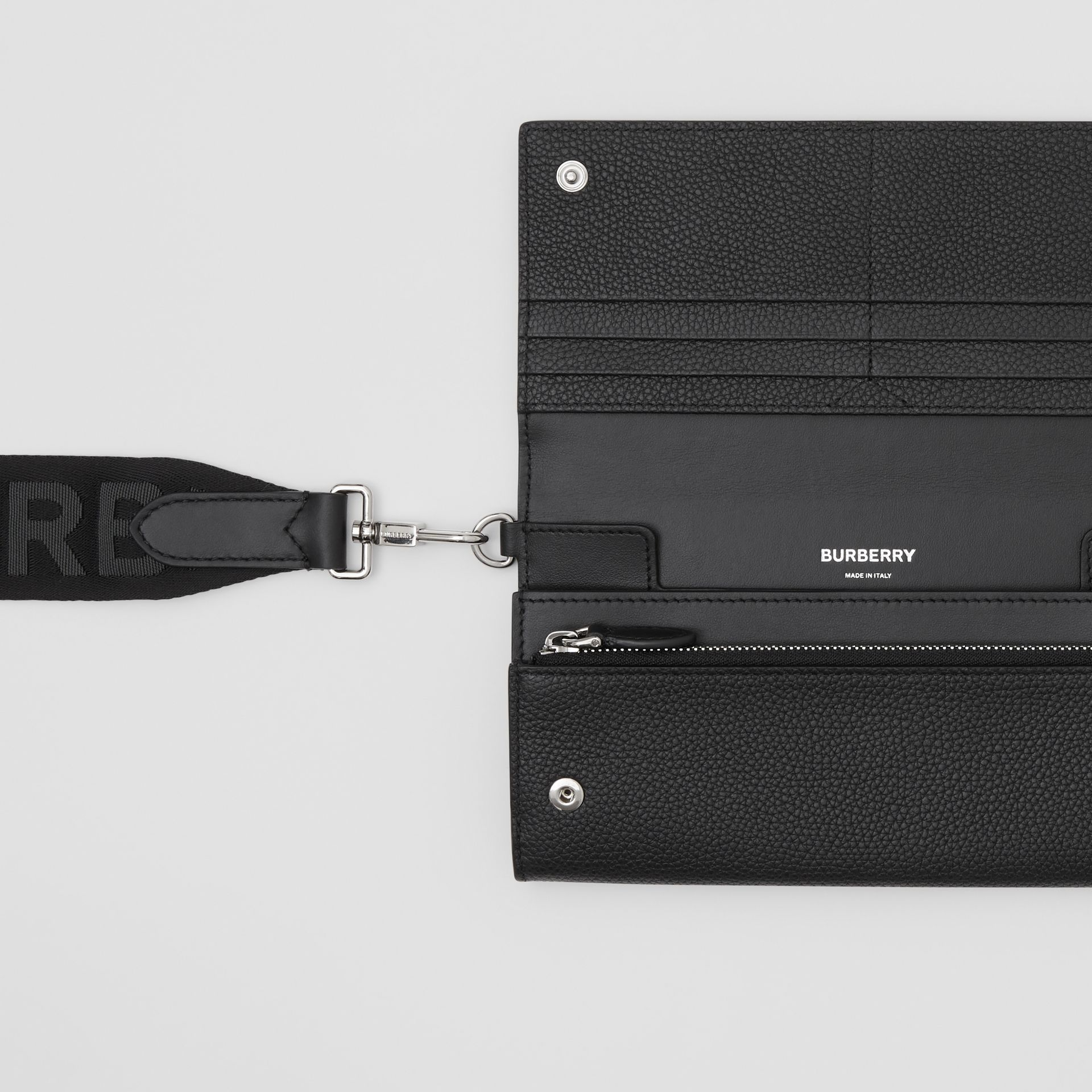 Grainy Leather Wallet with Detachable Strap in Black | Burberry United Kingdom - gallery image 1