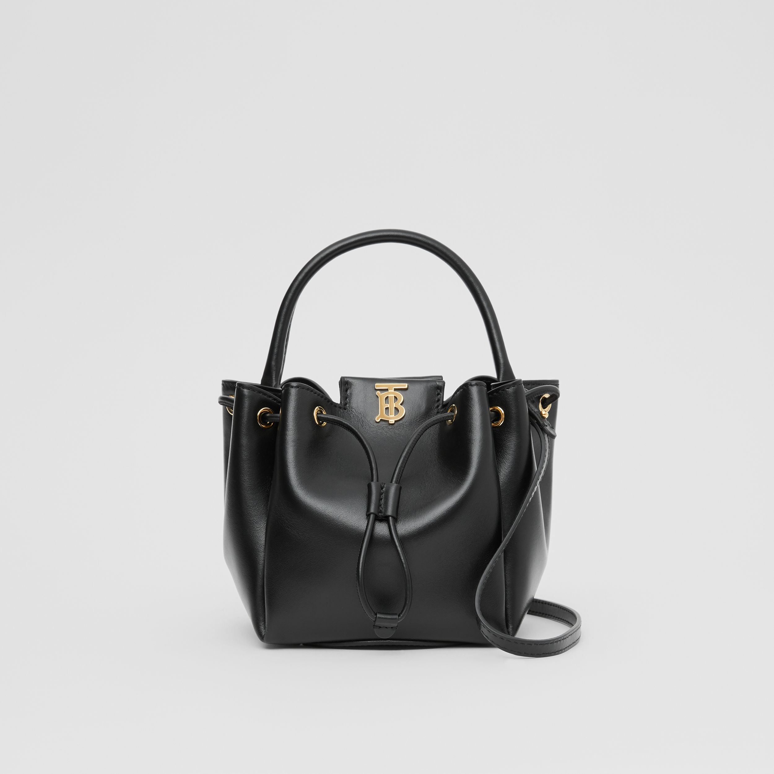 Monogram Motif Leather Bucket Bag in Black - Women | Burberry United States - 1